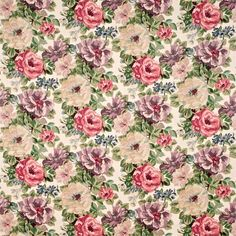 Shop for Fabric at Style Library: Midsummer Rose by Sanderson. Adapted from a block-printed linen from the Sanderson archive, this fabric . Discount Wallpaper, Sanderson Fabric, Lilac Roses, Lavender Flowers, Painted Rug, Curtains With Blinds, Roman Blinds, Printed Linen, Fabric Wallpaper