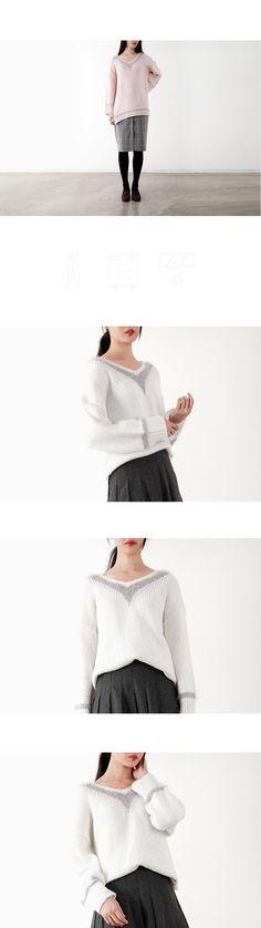 텐바이텐 10X10 : line point v-neck knit top