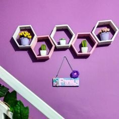 Hiasan Dinding Buatan Sendiri Dari Stik Es Krim Berbentuk Hexagonal Hasil Kerajinan Tangan
