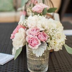 centerpiece hydrangea garden roses mason jar | Pink Shabby Chic Outdoor Baby Shower with Rustic Style