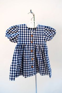 Vintage 1970s girl's gingham dress. Navy and white gingham. Retro. Rockabilly. Buttons up front. So sweet. Made in USA. Size 2. on Etsy, $38.00