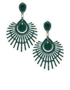 Image 1 ofRiver Island Peacock Jewel Drop Earring