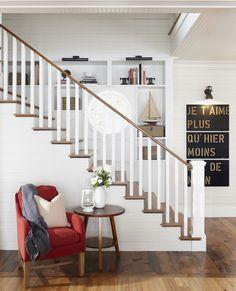 wood floors, treads, banister, white plank walls & built ins