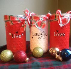 Your place to buy and sell all things handmade Christmas Jars, Jelly Jars, Using Acrylic Paint, Painted Mason Jars, Live Laugh Love, Food Items, Paper Shopping Bag, How To Apply, Valentines