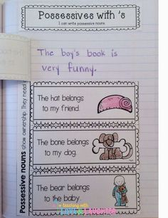 Teaching With Love and Laughter: First Grade Interactive Notebooks- Possessive Nouns Nouns First Grade, 2nd Grade Grammar, 1st Grade Writing, First Grade Reading, First Grade Classroom, Second Grade, Future Classroom, Grade 1, Grammar Activities