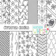 Christmas Digital Paper - black and white Christmas doodles -  tree, ornaments…