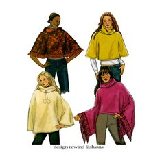 2000s PONCHO PATTERN Hooded Poncho Standing Collar Poncho with Trim Pom Poms Butterick 4612 Womens Sewing Patterns Size 16 18 20 22 Large Xl by DesignRewindFashions on Etsy