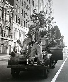 NYC. Brooklyn Dodger fans celebrating 1955 World Series victory, Flatbush Avenue, Brooklyn. It's funny but it doesn't guarantee a significantly better visibility and safety when driving
