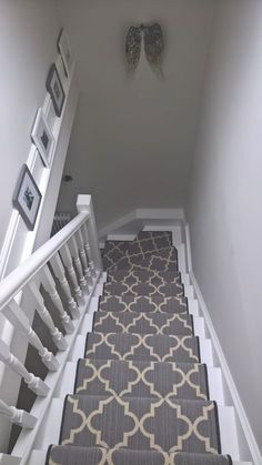 26 Ideas For Attic Stairs Diy Basement Steps Carpet Staircase, House Staircase, Hall Carpet, Open Staircase, Staircase Remodel, Staircase Ideas, Grey Hallway, Hall Flooring, Flur Design