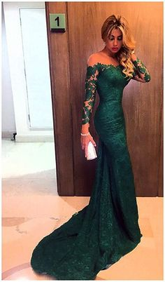 c94f2be599d Sheer Long Sleeves Green Lace Mermaid Prom Dresses 2016 Elegant Formal  Evening Gowns