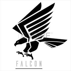 Attacking Falcon, Flying Eagle, spread out its feather. Suitable for team…