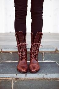 Vintage Lace- Up Boots