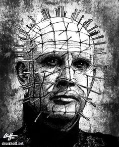 Pinhead Hellraiser Cenobite Horror Dark by chuckhodi Sci Fi Horror Movies, Horror Art, Pencil Sketch Images, Native American Drawing, Movie Poster Art, Art Posters, Macabre Art, Dark Art Drawings, Dark Tattoo