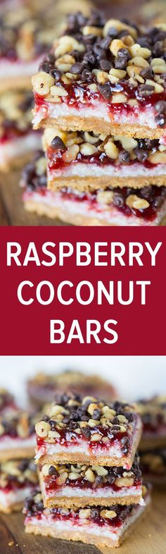 These raspberry coconut bars are every coconut and raspberry lover's dream! It will satisfy any sweet tooth! Recipe on http://tablefortwoblog.com