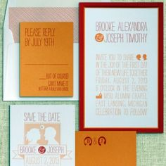 Sketchy wedding invitation by Luscious Verde available at Fitzgerald's Fine Stationery. This cool custom wedding invitation is quite the opposite of being all drawn out.
