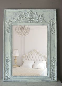 French Farmhouse Chic Wooden Mirror, painted in chalked duck egg blue and distressed Chic Interior Design, Shabby Chic Mirror, Chic Decor, Home Decor, Shabby Chic Interiors, Shabby Chic Furniture, Shabby Chic Room, Bedroom Vintage, Chic Home Decor