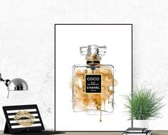 Chanel Perfume bottle.Coco printable poster. N5 by Byoliart