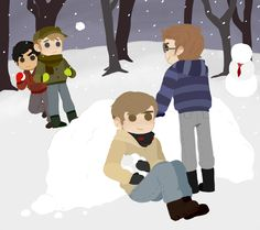 happy holidays, azureshark! done for the 2014 thac secret santa! i got 'draw alex, jay, tim, and brian having a snowball fight. make jay be the human shield.' as my request. please full view bc this monstrosity is 1619x1435 px aaaaaaa