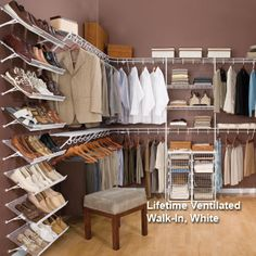 Find wire closet shelving and organizers from Schulte Lifetime Ventilated Closet System line, including wire shelves and shelf brackets, at Organize-It. Wire Closet Shelving, Closet Shelves, Closet Storage, Apartment Closet Organization, Organization Ideas, Organizing Drawers, Organized Closets, Master Bedroom Closet, Single Bedroom