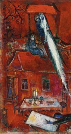 CRÉPUSCULE OU LA MAISON ROUGE - Marc Chagall
