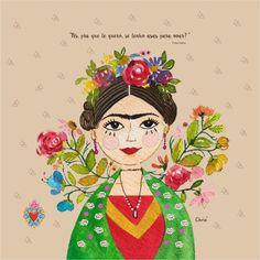 Ilustração em aquarela inspirada na Frida Kahlo para compor os produtos Chria! Arte by Christiane M. Lindner (47) 99929 8863