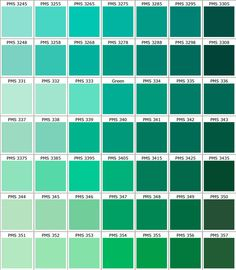 Pantone Greens... My favorite color palette in the whole wide world! Can't resist that Seafoam green color