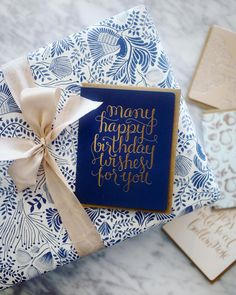 Love this combo of our happy birthday letterpress gold foil greeting card and our famous double-sided gift wrap. From Bespoke Letterpress Elegant Gift Wrapping, White Wrapping Paper, Creative Gift Wrapping, Creative Gifts, Wrapping Presents, Wrapping Ideas, Birthday Gift Wrapping, Birthday Cards, Happy Birthday