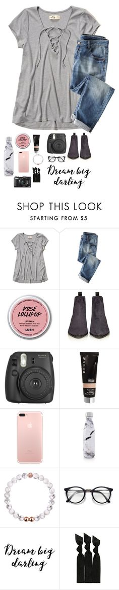 """omg! Read the d!"" by theperksofbeinghope ❤ liked on Polyvore featuring Hollister Co., Wrap, Acne Studios, Fujifilm, Becca, S'well, Emi-Jay and G1"