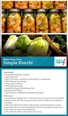 FLOTUS Kimchi Recipe - Yet another reason I think she is the most amazing woman. Squires Squires monahan - Michelle Obama shared her recipe for Kimchi! Asian Recipes, New Recipes, Favorite Recipes, Healthy Recipes, Healthy Treats, Healthy Food, Fermentation Recipes, Canning Recipes, Homebrew Recipes