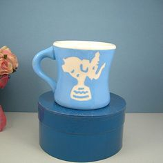 Vintage Child's Cup Baby Blue Color c1940 Harker Pottery Cameo Pattern Elephant and Soldier Collectible Nursery