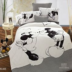 Mickey Mouse kids print bedding set 4pc bedclothes 100% Cotton Duvet/Comforter/Quilt Cover bed linen sets double king queen size-in Bedding ...