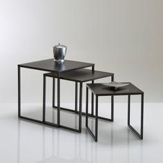 Tables gigogne acier laqué vieilli (lot de 3), Hiba La Redoute Interieurs