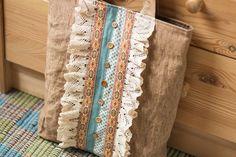 Brown linen cotton boho women's tote bag shoulder bag by SomBags