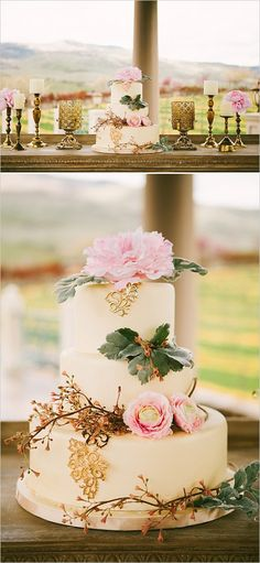 Pink and gold elegant wedding cake ideas. Cake Design: Sugar Rush #weddingchicks http://www.weddingchicks.com/2014/06/19/oregon-winery-wedding/