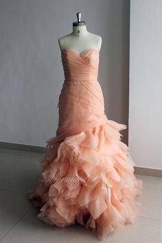 Blush Custom made Mermaid Wedding dresses Wedding gowns Floral ruffled Sweetheart neckline with Corset back