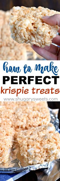 Get the secret tips and tricks to making the most PERFECT Rice Krispie Treats. Kid and adult friendly! Get the secret tips and tricks to making the most PERFECT Rice Krispie Treats. Kid and adult friendly! Rice Krispy Treats Recipe, Rice Crispy Treats, Rice Krispies, Cookie Recipes, Dessert Recipes, Popcorn Recipes, Delicious Desserts, Yummy Food, Shugary Sweets