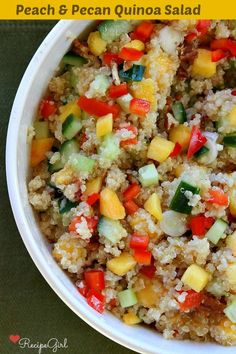 Peach and Pecan Quinoa Salad recipe - the perfect summer salad, from http://RecipeGirl.com