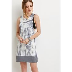 Forever 21 Forever 21 Women's  Tie-Dye Laddered Back Dress (€19) ❤ liked on Polyvore featuring dresses, bohemian dress, short dresses, boho style dresses, short boho dress and boho chic dresses