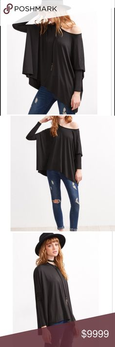 Cute black oversized top Very cute and chic Black boat neck oversized  dolman Sleeve top  Bust(cm) : XS:170.5cm, S:174.5cm, M:178.5cm, L:182.5cm Length(cm) : XS:62.5cm, S:63.5cm, M:64.5cm, L:65.5cm Cuff(cm) : XS:15cm, S:16cm, M:17cm, L:18cm Sleeve Length(cm) : XS:31cm, S:32cm, M:33cm, L:34cm Fabric : Fabric is very stretchy Pattern Type : Plain Sleeve Length : Long Sleeve Color : Black Material : 95% Polyester 5% Spandex Neckline : Boat Neck Tops Blouses