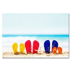Flip Flop Family and Starfish on Beach Poster Web