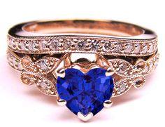 Blue Sapphire Heart Shape Diamond Butterfly Bridal Set in 14K Pink Gold- dream set
