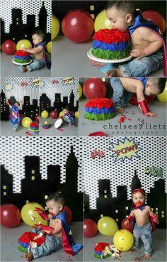 birthday cake smash photos in San Antonio, super hero cake smash, super hero birthday, first birthday, birthday photos, San Antonio, Chelsea Lietz Photography