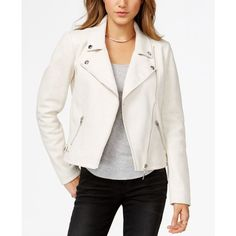 Guess Faux-Suede Moto Jacket ($82) ❤ liked on Polyvore featuring outerwear, jackets, true white, motorcycle jacket, moto jacket, faux suede jacket, guess jacket and biker jacket