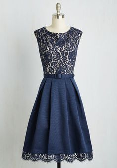 Lovely in Lyons A-Line Dress - Blue, Solid, Lace, Belted, Party, A-line, Cap Sleeves, Woven, Best, Scallops, Wedding, Cocktail, Bridesmaid, Long, Fit & Flare, Vintage Inspired, Luxe Gifts