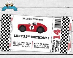 Vintage Red Racing Car Invitation Invite by LilFacesPrintables, $14.95