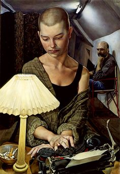 """Michael Taylor (British, born 1952) """"Couple with a Lamp Alice and Clive"""""""