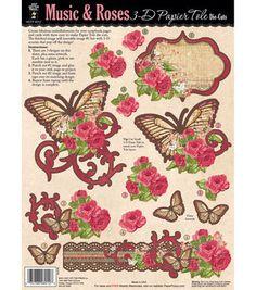 3-D Papier Tole Die-Cuts-Music & Roses