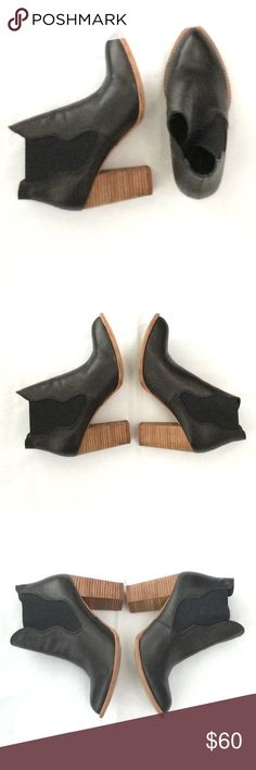 "NEW LISTING Chinese Laundry Bootie Size 8.5 Chinese Laundry Zealous black, pull-on bootie size 8.5. Pointed toe, scalloped vamp, and stacked wood block heel. 3 3/4"" stacked block heel. Cushioned footbed. Leather upper. Faux leather lining. Synthetic sole. Some minor flaws (see photos w/pink pen) but overall in very good condition. Very classic & versatile look.  Open to offers. Thanks for browsing! Chinese Laundry Shoes Ankle Boots & Booties"