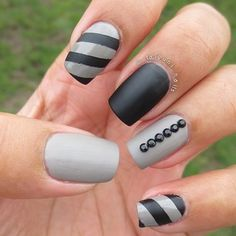 Black & gray nails - AGlez