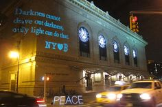 "New York Loves Boston.  Brooklyn Academy of Music.  ""About six hours after the bombs went off at the end of the Boston Marathon, killing three and wounding over 180 others, a handful of pictures spread all over the Internet, carrying a message of peace and community in response to the tragedy."""